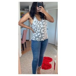 PINK Victoria's Secret Tops - VS PINK Gray Leopard Tank Top with Paillettes